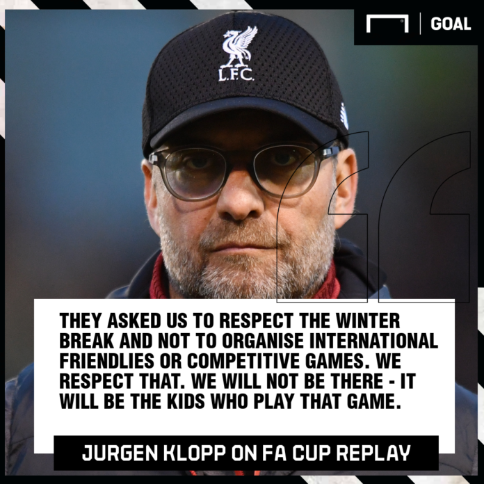 Jurgen Klopp has stuck it to the FA as he has officially refused for his Liverpool first-team players to participate in the FA Cup replay against Shrewsbury.