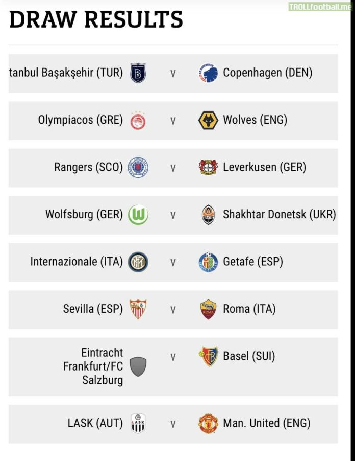The draw for the round of 16 stage of the UEFA Europa League has been held with the first leg games taking place on Thursday 12 March in two sessions with the second leg one week later on Thursday 19 March.