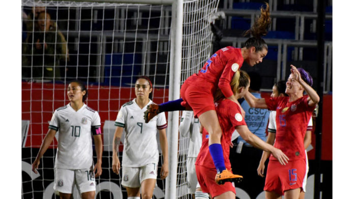 Women soccer World Cup champions team USA are looking to for gold as they qualify for the Tokyo 2020 Olympics after beating Mexico 4-0 at the CONCACAF regional qualifiers at Dignity Sports Park in Carson, California.