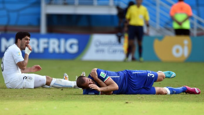 Italy defender Giorgio Chiellini admires Uruguay forward Luis Suarez for biting him during a heated match at the 2014 World Cup.