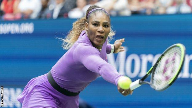 Former world number one Serena Williams recovered from a set and three break points down to beat compatriot Bernarda Pera in her first match in six months.