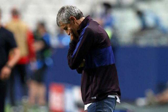 Barcelona coach Quique Setien offered no indication that he would resign in the immediate aftermath of Champions League humiliation at the hands of Bayern.