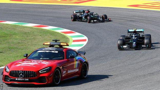 Lewis Hamilton criticised Formula 1 officials for endangering drivers with their approach to restarts behind the safety car after a chaotic Tuscan Grand Prix.