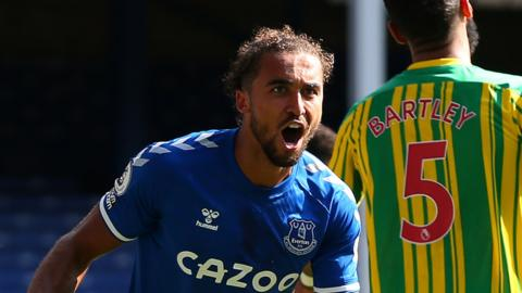 Dominic Calvert-Lewin hit a first career hat-trick and James Rodriguez scored on his home debut as Everton continued their impressive start to the Premier League season with a dominant win against 10-man West Brom.