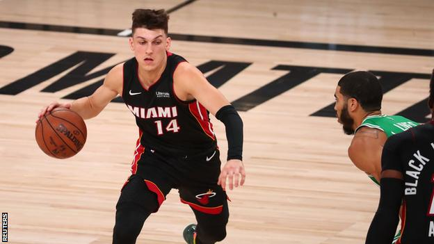 Rookie Tyler Herro scored a career-high 37 points as the Miami Heat defeated the Boston Celtics 112-109 in game four of the Eastern Conference finals.