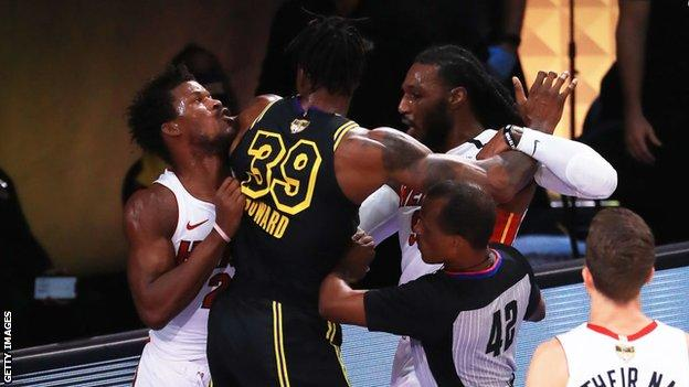 The Miami Heat beat the Los Angeles Lakers 111-108 to win a thrilling game five in the NBA Finals and take the series into a sixth game.