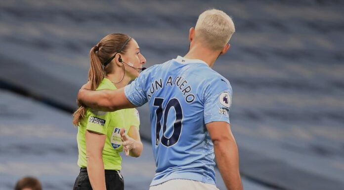 Manchester City manager Pep Guardiola said striker Sergio Aguero will not hesitate to apologise to a lineswoman if she is unhappy about the Argentine putting his hand on her shoulder during last weekend's 1-0 Premier League win over Arsenal.